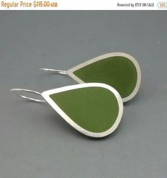 Olive Green Argentium Silver Pear Shaped earrings with pigmented Olive Green Resin. These earrings are a larger version of the Pear shaped earrings. Earrings 3cm drop and 2cm wide with a nice long ear hook. I can make these sets in any colour that you want, contact me if you would like