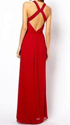Charming Round Collar Solid Color Backless High Waist Sleeveless Chiffon Dress For Women, RED, S in Maxi Dresses   DressLily.com  Dupe för By Malina-klänning?