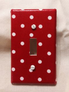 Red with dots Light Switch Cover by grannyharper on Etsy, $8.00
