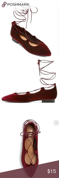 ✨HP✨ Maroon Kady Pointed Toe Lace Up Ballet Flats In like new condition! Only flaws are two lines where there's a slit in the velvet (they aren't deep, just surface level). ⏰📬I Ship Same Day/Next Day! 📬⏰ ✨Best in Shoes Host Pick 7/18✨ Mossimo Supply Co Shoes Flats & Loafers