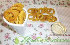 ConDosCucharas.com Aros de cebolla - ConDosCucharas.com Tapas, Food, Appetizer Recipes, Vegetables, Vegetables Garden, Fruit, Side Dish Recipes, Eten, Meals