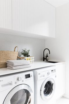 2 in Twelve Forever Home Bathrooms modern white laundry, matte black faucet, modern farmhouse laundry White Laundry Rooms, Modern Laundry Rooms, Laundry In Bathroom, Laundry Decor, Laundry Cupboard, Modern White Bathroom, Laundry Area, Laundry Closet, Laundry Basket
