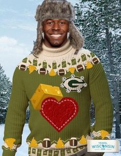 Green Bay Packers' Donald Driver in a Travel Wisconsin advertisement. I have no words for how awesome that sweater is. Packers Baby, Go Packers, Green Bay Packers Fans, Packers Football, Best Football Team, Football Season, Greenbay Packers, Ugly Sweater, Ugly Christmas Sweater