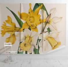 'Narcissus Maximus' Mural - New York Botanical Garden Collection from £60 per sq/m | Shop Cushions & Wall Murals at surfaceview.co.uk