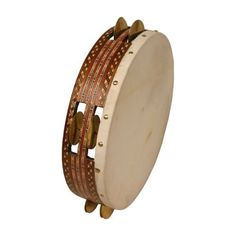 """Riq, 12"""" by Mid-East. $55.10. Tambourine. Origin Country: India. 3 lbs. Made by Mid-East.The riq is used as a traditional instrument in Arabic music. It is important in both folk and classical music and riq players are capable of great subtley and virtuosity.The frame on this Riq is covered inside and out with inlay and it has 10 pairs of small cymbals which are about 5 cm in diameter in 2 rows around the frame. The goat skin is glued on and tightened over the ..."""