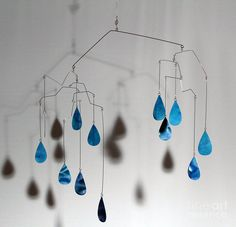 mobile art | ... Sculpture - Raindrops Kinetic Mobile Sculpture Fine Art Print