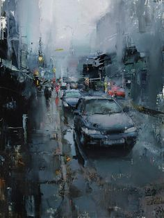 Watery Shroud Painting by Tibor Nagy Painting Competition, City Painting, Urban Landscape, Art Plastique, Contemporary Paintings, Urban Art, Art Oil, Painting Inspiration, Landscape Paintings