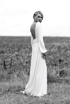 Elegant Long Sleeved Wedding Gown, Low Back Bridal Dress, Vintage Wedding Gown, Bell-Sleeved Wedding Dress