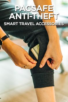 When Style Meets Security with PacSafe's Anti-theft Travel Pants and Bags Travel Pockets Travel Pants, Travel Backpack, Travel Purse, Travel Organization, Travel Gadgets, Sport Wear, Travel Essentials, Travel Accessories, Sewing Hacks