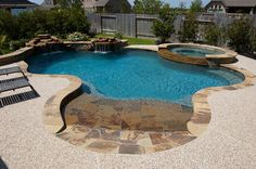 Beach Entry Swimming Pools - Cypress Custom Pools, love the beach entrance Small Backyard Pools, Backyard Pool Designs, Small Pools, Swimming Pools Backyard, Swimming Pool Designs, Pool Landscaping, Outdoor Pool, Gunite Swimming Pool, Lap Pools