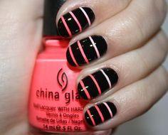 Neon coral black ombre striped nails