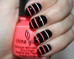 Neon coral black ombre striped nails