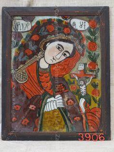 Imagini pentru icoane pe sticla modele Religious Art, Romania, Folk, Frame, Glass, Painting, Decor, Christianity, Drinkware