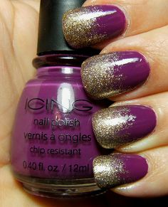 Purple and gold nails! Switch out the purple for red and support your Mustangs! Glitter Fade Nails, Faded Nails, Glitter Nail Polish, Gold Nails, Plum Nails, Fabulous Nails, Gorgeous Nails, Cute Nails, Pretty Nails