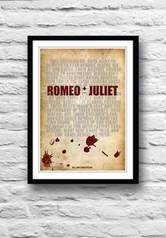 ROMEO and JULIET Shakespeare print Quote poster by Redpostbox, £8.00