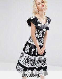 3052fe2bf594 Image 1 of Horrockses Gabriella Midi Prom Dress Floral Midi Dress