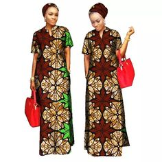 Kitenge Cotton African Women Long Dress with African Clothing For Women Cotton Material Lady Long Dress With Scarf African Fashion Designers, African Men Fashion, Africa Fashion, African Fashion Dresses, African Women, Fashion Outfits, African Outfits, Fashion Styles, Fashion Ideas