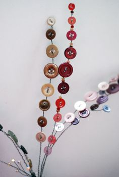 Wire button flowers stem beads