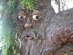 Moustached Tree Face - garden sculpture, decoration, novelty, trees, sheds,