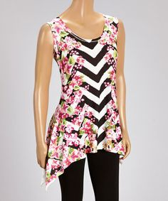 Another great find on #zulily! Pink Floral Chevron Sleeveless Sidetail Tunic - Women & Plus by Allie Ollie #zulilyfinds