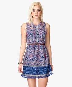 Pintucked Floral Dress w/ Skinny Belt