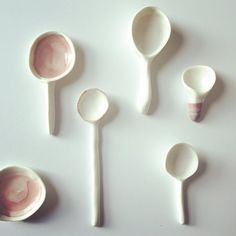I made porcelain spoons. I did a course last term and just picked these up after firing. I was a bit obsessed with spoons!