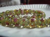 Beautiful Yellow W/Pink Flower Lampwork Beads~