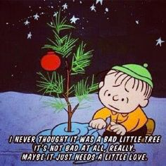 """I never thought it was a bad little tree. It's not bad at all, really, maybe it just needs a little love . and that's what Christmas is all about, Charlie Brown!"" - Peanuts, a Charlie Brown Christmas Peanuts Christmas, Christmas Love, Christmas Pictures, Winter Christmas, Vintage Christmas, Christmas Crafts, Christmas Ideas, Christmas Scenes, Winter Pictures"