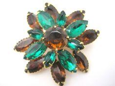 Vintage Rhinestone Brooch - Topaz Brown and Emerald Green Costume Jewelry