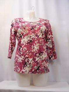 Karen Scott Geometric Scoop Neck 3/4 Sleeves Graphic Knit T-Shirt Size 1X #KarenScott #GraphicTee