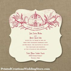 barn toile invitation is so charming for a country wedding theme see all the details