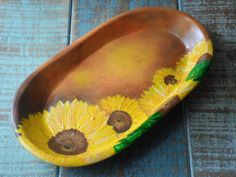 Sunflowers in Wooden Tray. Hand painted. by Madeartbymarie on Etsy, $24.00