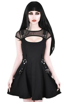 Killstar Kounter Kulture Skater Dress The awesome Kounter Kulture dress features a black mesh neckline with a keyhole chest and strap detailing. Flaring our from the waist, this Killstar dress looks sup. Tokyo Street Fashion, Grunge Style, Soft Grunge, Goth Dress, Punk Dress, Gothic Outfits, Grunge Outfits, Ladies Dress Design, Gothic Fashion