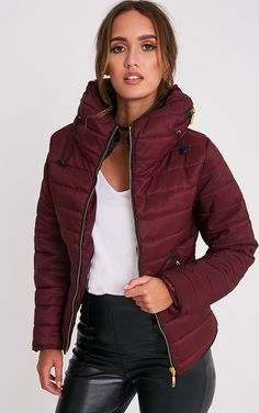 The Mara Burgundy Puffer Jacket. Head online and shop this season's range of coats_jackets at PrettyLittleThing. Nylons, Padded Jacket, Leather Jacket, Puffer Jackets, Winter Jackets, Jacket Images, Daily Dress, Fancy, Affordable Fashion