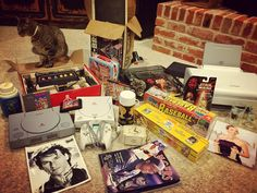 By abbygarrettmpf: VINTAGE ITEMS VIDEO GAMES & COLLECTABLES FOR SALE!!! There are a few rare items in here and some of it is from my personal collection that I'm downsizing. If you're interested come out to my mom's garage sale this Saturday in China Spring where I'll have my stash available at 9:00am. I have prices in mind for each item but am willing to consider best offers. Here's a sneak peak at some of the stuff I have. Cat not for sale ;) - Star Wars 1981 vintage thermos - 1965 metal…