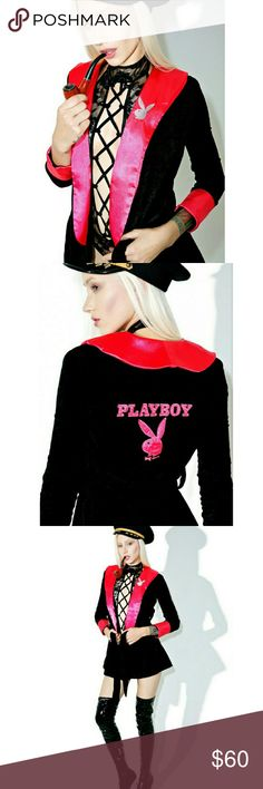 "Da Playboi Smoking Jacket from Dollskill Worn once   ""Da Playboi Smoking Jacket cuz yew woulda been the hottest girlfriend in the mansion. Get like Hef and pull on this luxurious long sleeve smoking jacket, constructed from a plush velour material with an xtra comfy relaxed fit, pink satin trim and official embroidered Playboy logos. Complete it with a faux pipe so ya can really puff n pimp!""   BLACK Materials: Polyester Blend Hand Wash Cold, Hang Dry Our Doll wears XS and is 5'7""  Tags robe…"