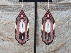 Cherokee Beaded Arrowhead Earrings In The Colors of by LJGreywolf, $60.00