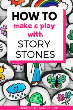 Story Stones Guide: How to Make And Ways to Use Them What's Inside: What are Story Stones? How to Make and Use them, the Benefits your kids will gain and 20 rock painting ideas for story stones! Rock Painting Ideas Easy, Rock Painting Designs, Painting For Kids, Dot Painting, Pebble Painting, Pebble Art, Stone Painting, Stone Crafts, Rock Crafts