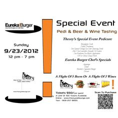 Special Event BEER & WINE Tasting :: 9/23/12 :: Featuring Eureka Burger ::