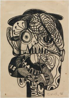 George Condo ~ Untitled, 1985 (Conté Crayon on paper)