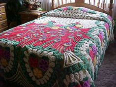 Red peacock chenille bedspread with green hearts and by designer2, $229.95
