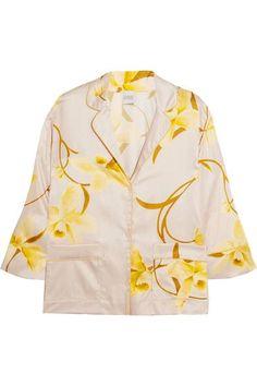 2073b7adb5 Carine Gilson - Floral-print Silk-satin Pajama Top - Yellow Pink Tops