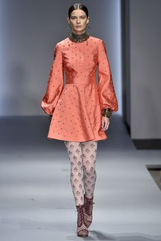 Instead of sporting a simple pair with a party dress, try a graphic iteration that slightly mirrors what's happening up top.Zimmermann #refinery29 http://www.refinery29.com/2016/02/103241/graphic-tights-trend-nyfw-2016#slide-8