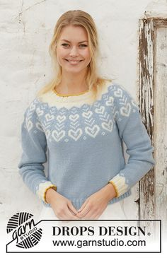 Knitted jumper in DROPS Merino Extra Fine. The piece is worked top down with round yoke and Nordic pattern. Sizes S - XXXL. Diy Crafts Knitting, Knitting For Kids, Knitting For Beginners, Jumper Knitting Pattern, Knitting Patterns Free, Free Knitting, Drops Design, Garnstudio Drops, Magazine Drops