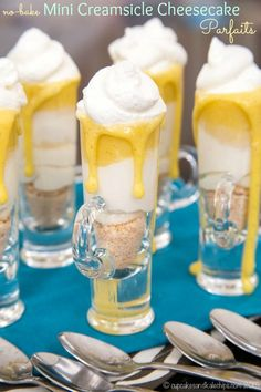 No-Bake Mini Creamsicle Cheesecake Parfaits are simple miniature desserts perfect for any spring holiday or party with a creamy cheesecake layer and the burst of citrus. Easy to make gluten free, too! | http://www.trish120.wordpress.com