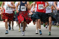 Competitors take part in the Kilt Run in Perth, Scotland, as part of the city's Royal Golden Jubilee celebrations Saturday June I think we can all agree that kilts are better than lycra. Whisky Club, Perth Scotland, Celtic Clothing, Tartan, Plaid, Scottish Fashion, Men In Kilts, Social Trends, Half Marathon Training