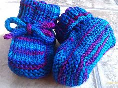 These simple little booties are a quick knit. They are knit flat, starting at the bottom center, and bind off at the top of the cuff, with one seam to sew. As written, they are sized to fit a newborn, or the stitch counts or gauge can be easily manipulated to obtain a larger size. They take little yarn, and so can be made from sock yarn leftovers.