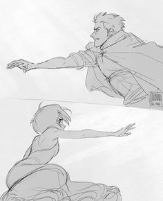 """just an excuse to draw Ichigo wearing a cape and Rukia in a dress reaching out for each other desperately"""