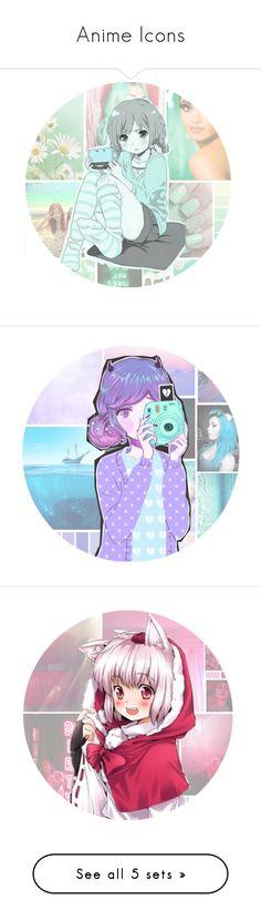 """Anime Icons"" by potterhead212 ❤ liked on Polyvore featuring art, Potterheadicons, anime, hotpink, animegirl, animeicon, lightblue and orange"