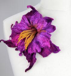 Felted flower brooch pin multicolour  magenta by FeltFieltroFilc, €19.00